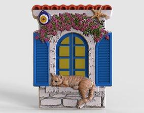 cat in the window relief model