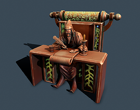 3D asset wizard on throne
