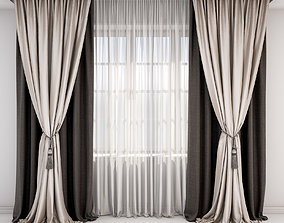 3D Brown and beige curtains and roman blind and window