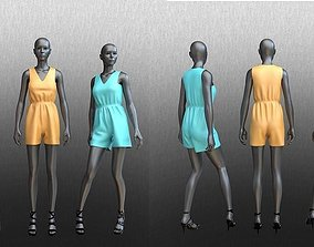 3D model posed mannequins wearing jumpsuit collection