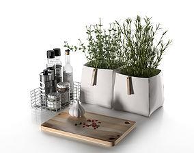 3D Kitchen Composition with Pots