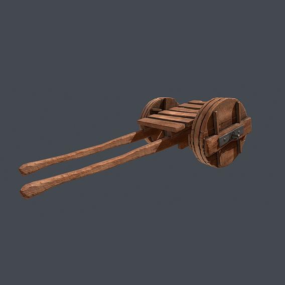 Medieval cart, wheelbarrows