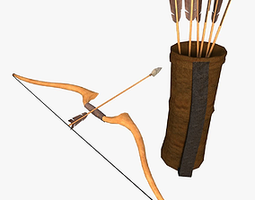 Low poly arrow quiver and bow 3D model