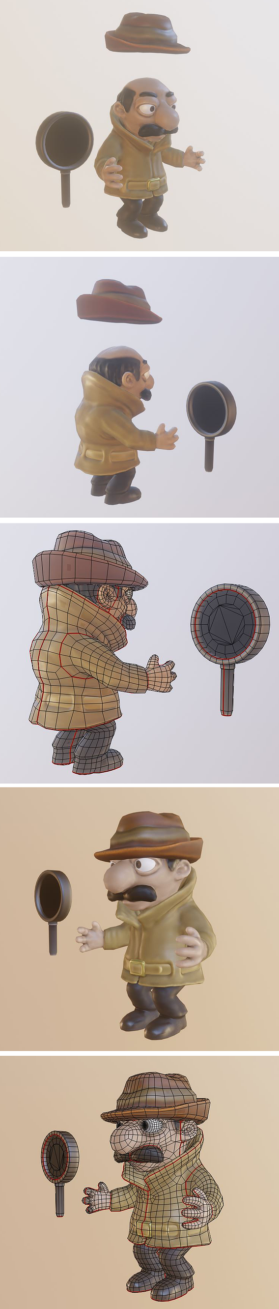Cartoon Inspector Low-Poly Version