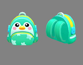 3D asset Cartoon children school bag - penguin