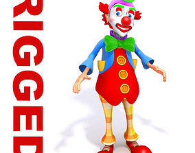 Clown cartoon rigged 3D asset