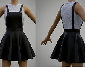 leather skater dress - dungaree and crop top 3D