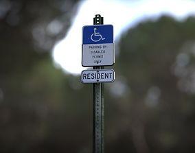 3D Disabled Handicapped Parking Sign