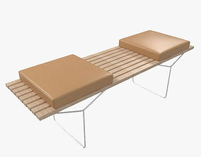 3D Bertoia Bench With Seat Cushions