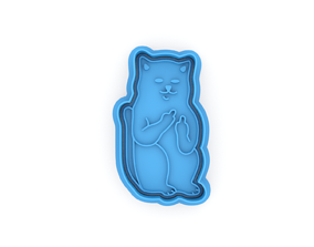 Cat with fingers cookie cutter 3D printable model