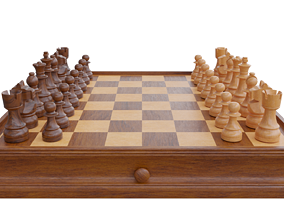 3D asset Wooden Chess and Checkers Set