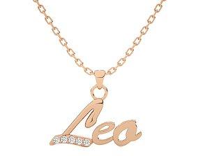 Leo Zodiac Pendant Necklace 3dm stl render detail