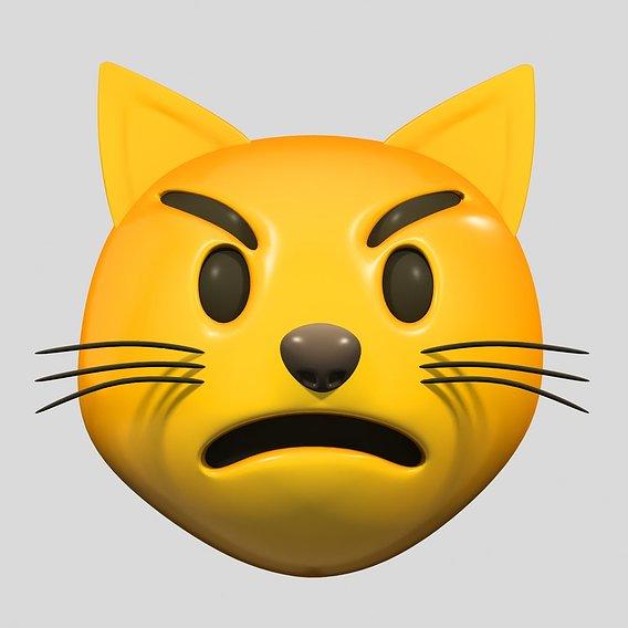 Emoji Pouting Cat 3D model