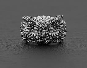 3d Horned owl ring 3D print model