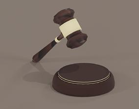 judges hammer Low Poly 3D model