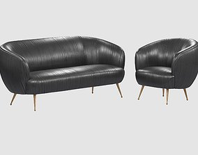 SOUFFLE CHAIR Ruched leather Onyx Kelly Wearstler 3D model