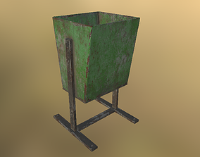 3D asset realtime PBR basket Trash Can