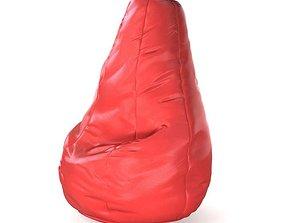 3D model Red bean bag chair 21 am121
