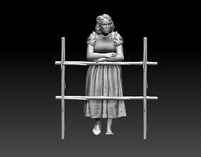 woman 3D print model rake