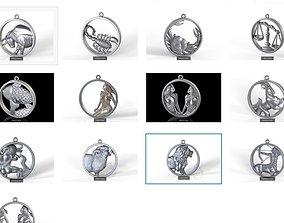 3D Zodiac signs in circle