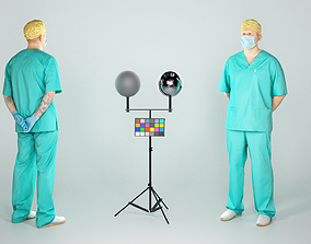 3D model Handsome surgical doctor with a mask 48