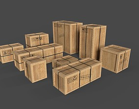 3D asset REALISTIC CARGO BOX PACK LOW POLY