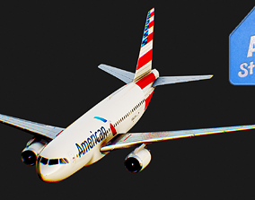 3D model Airbus A320 American Airlines Airplane