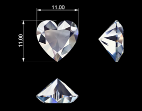 Heart shape diamond 3D