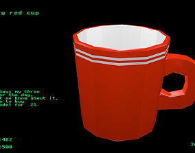 3D model Low poly red cup