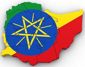 Political Map of Ethiopia 3D