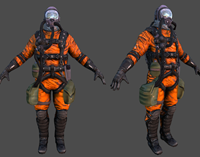 3D model Astronaut Pilot low poly Rigged fly suit flying