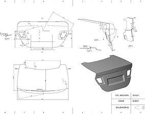 Car trunk lid panel 3D print model