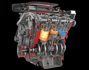 3D Animation Sectioned V6 Engine Ignition