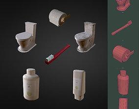 Low Poly Bathroom Items 3D model