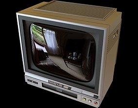 3D model 90s Small CRT TV VCR Combo