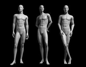 3D model Animated Male Base Mesh v2 - 3 poses