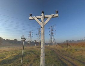 3D asset Wood Electricity Poles With Ladder - Object 002