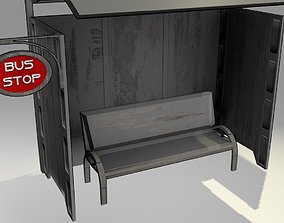 3D model Game-Ready Bus Stop with Bench and Sign