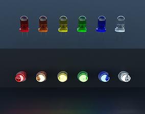 led LED Light Emitting Diodes 6 colors set 3D model