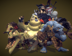 3D asset Zombie Crew Bundle - Low Poly Hand Painted
