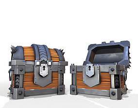 Sturdy Toon Reinforced Treasure Chest - PBR 3D model