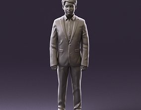 000982 serious young boy in blue suit 3D Print Ready