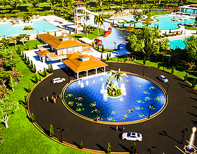 Amusement park and resort 3D model poolside