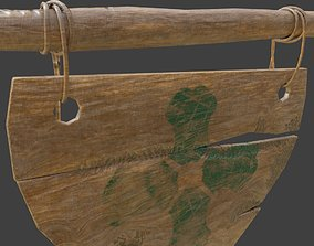 3D asset medieval wooden signage with pbr
