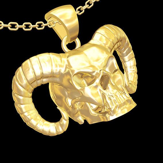 Devil Skull Sculpture Pendant jewelry gold necklace 3D print model