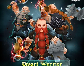 3D asset Dwarf Warrior