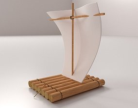 Raft With Sail 3D model