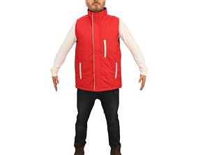 No447 - Male Red Vest A Pose 3D model