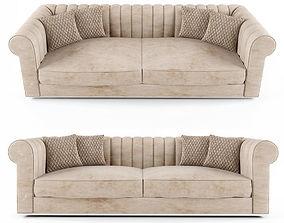 3D model Large Modern Padded Nubuck Leather Italian Sofa
