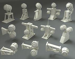 3D asset Low Poly Military Lamps - 12 pieces